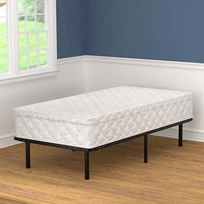 Handy Living Twin Size Metal Bed Frame with Pillowtop Mattress