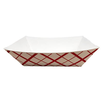 Southern Champion Red Checked Food Tray, 3 lbs./500 ct.