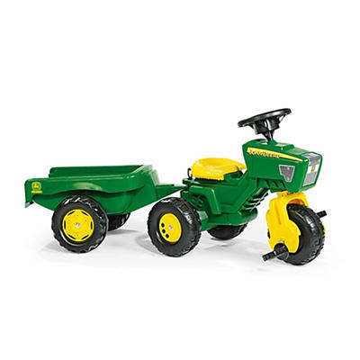 John Deere 3-Wheel Pedal Tractor with Trailer