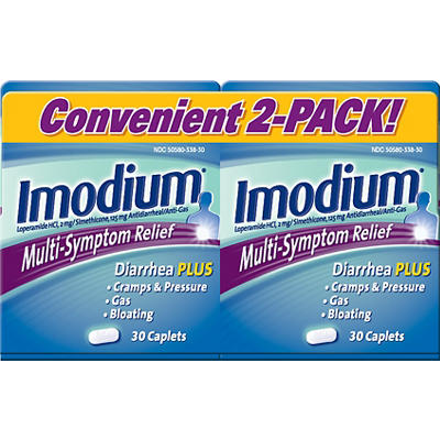 Imodium Multi-Symptom Gas Relief and Anti-Diarrheal Remedy Caplets, 2