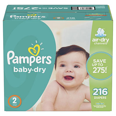 Pampers Baby Dry Diapers, Size 2, 216 ct.