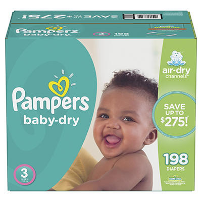 Pampers Baby Dry Diapers, Size 3, 198 ct.
