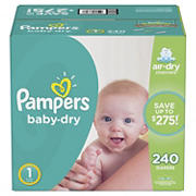 Pampers Baby Dry Diapers, Size 1, 240 ct.