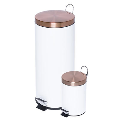 Honey-Can-Do 30L and 3L Step Trash Can Set - Rose Gold