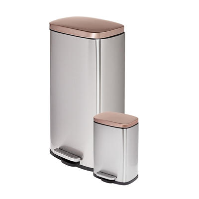 Honey-Can-Do Rectangular 30L and 5L Step Trash Can Combo - Rose Gold