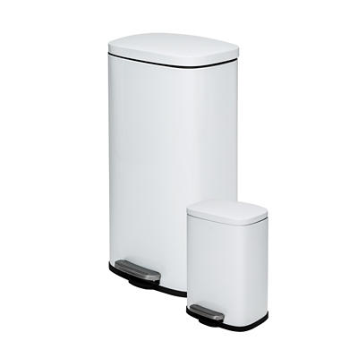 Honey-Can-Do Rectangular 30L and 5L Step Trash Can Combo - White