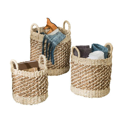 Honey-Can-Do 3-Pc.Tea-Stained Woven Basket Set
