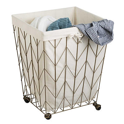 Honey-Can-Do Chevron Rolling Hamper - Bronze