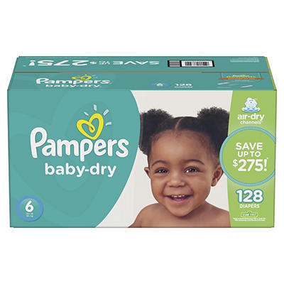 Pampers Baby Dry Diapers, Size 6, 128 ct.
