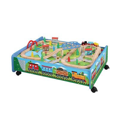 Maxim Enterprise 62-Pc. Wooden Train Set with Trundle