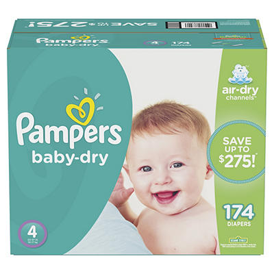 Pampers Baby-Dry Diapers, Size 4, 174 ct.