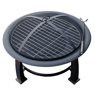 AZ Patio Heaters Wood Burning Fire Pit with Cooking Grate - Black