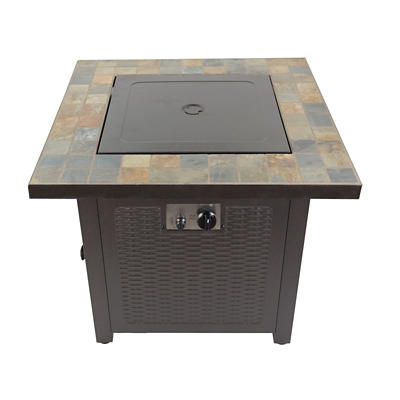 "AZ Patio Heaters 30"" Propane Fire Pit with Slate Tile Top - Brown"