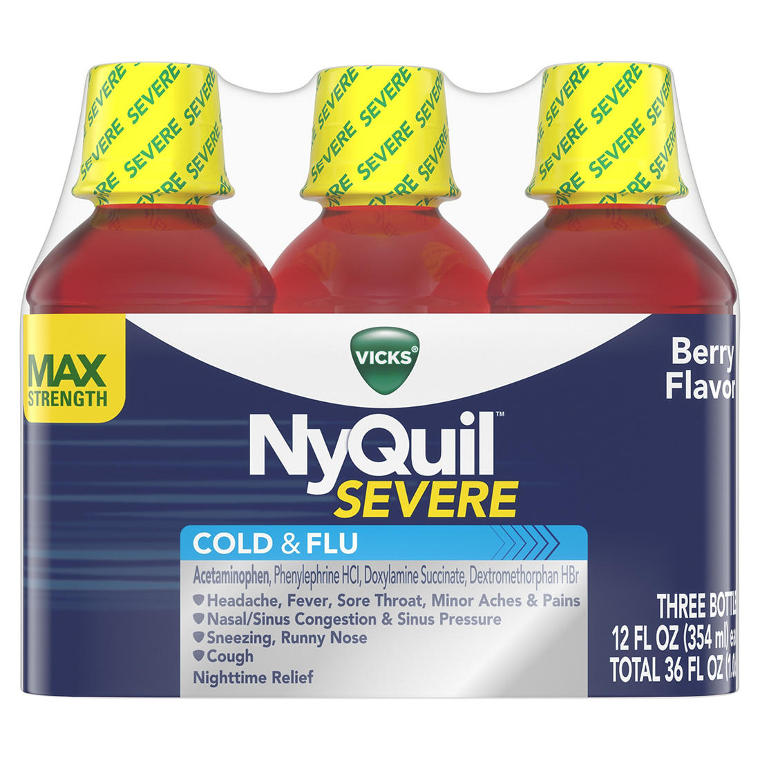 Vicks Nyquil Severe Cold and Flu Nighttime Relief Liquid, 3 pk /12 fl  oz