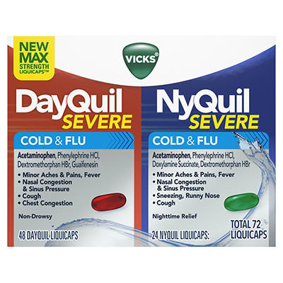 Vicks DayQuil/NyQuil Severe Cold & Flu Relief LiquiCaps Combo Pack, 72