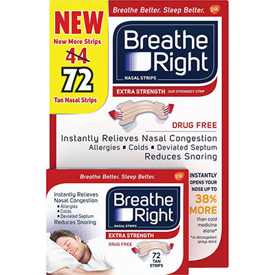 Breathe Right Tan Nasal Strips, 72 ct.