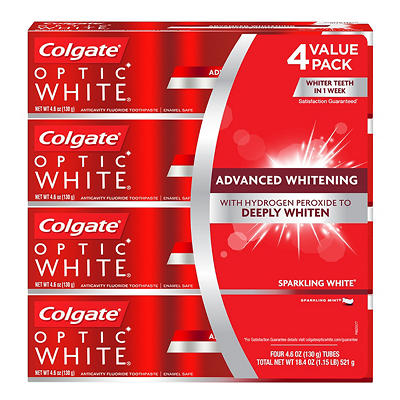 Colgate Optic White Toothpaste, 4 pk./4.6 oz.