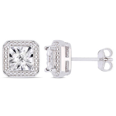 Diamond Accent Square Halo Stud Earrings in Sterling Silver
