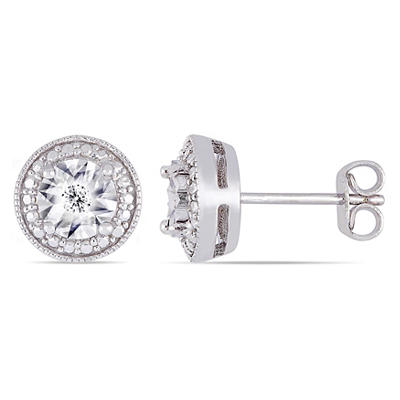 Diamond Accent Round Halo Stud Earrings in Sterling Silver