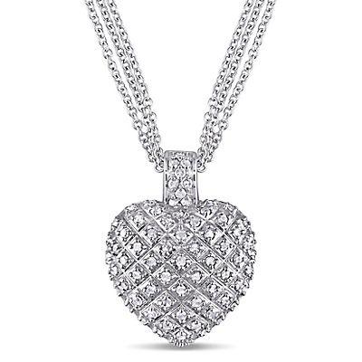 .98 ct. t.w. Diamond Heart Pendant in Sterling Silver