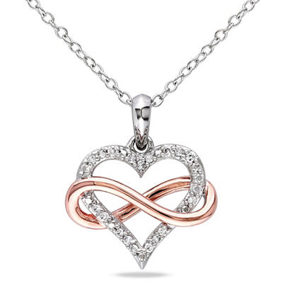 .10 ct. t.w. Diamond Heart Pendant in Pink and White Sterling Silver