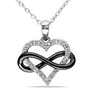 .10 ct. t.w. Diamond Heart Pendant in Black and White Sterling Silver