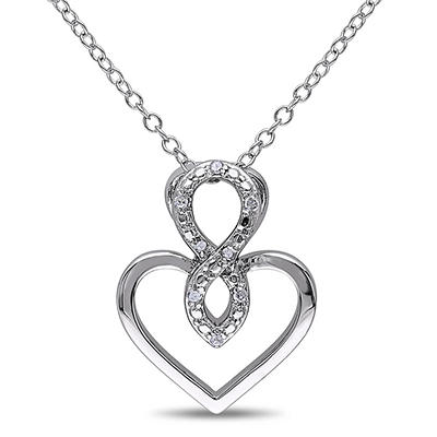 Diamond Accent Infinity Heart Pendant in Sterling Silver