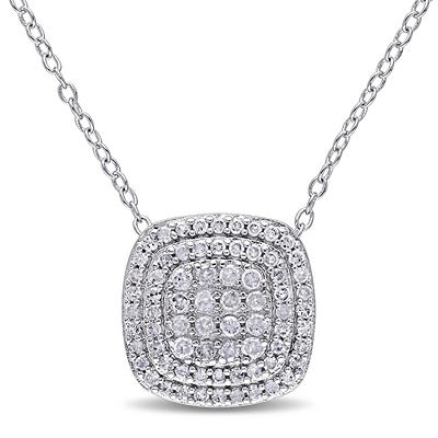 .47 ct. t.w. Diamond Layered Halo Pendant in Sterling Silver