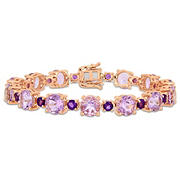 24.64 ct. t.w. Amethyst and Rose de France Tennis Bracelet in Rose Gold Sterling Silver