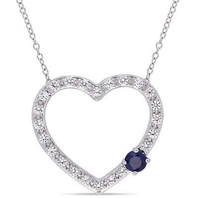 1.14 ct. t.w. Created Blue and White Sapphire Heart Necklace in Sterli