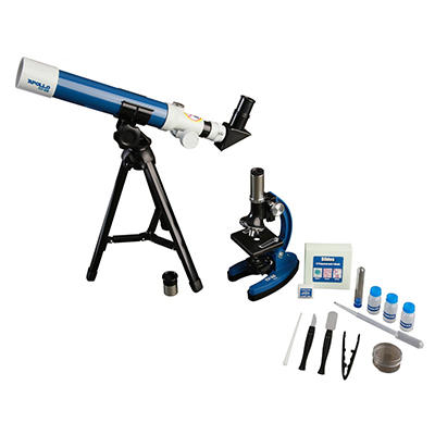 ExploreOne Apollo 40mm Telescope and 900x Microscope Set with Case