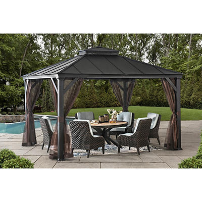 Berkley Jensen Bar Harbor 10' x 12' Hardtop Gazebo with Netting