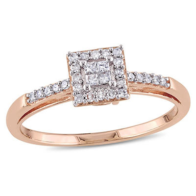 .19 ct. t.w. Diamond Ring in 10k Rose Gold, Size 8