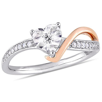 .10 ct. t.w. Diamond Heart-Shaped Engagement Ring in 10k White and Ros