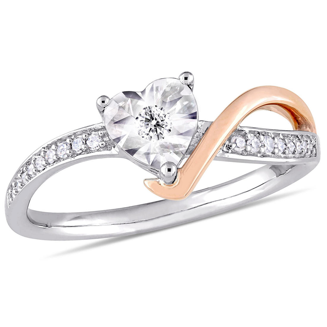 10 Ct T W Diamond Heart Shaped Engagement Ring In 10k White And Rose Gold Size 7