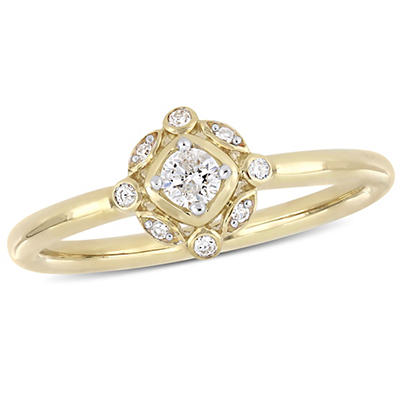 .16 ct. t.w. Diamond Halo Engagement Ring in 10k Yellow Gold, Size 7