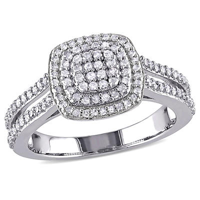 .50 ct. t.w. Diamond Halo Ring in Sterling Silver, Size 8
