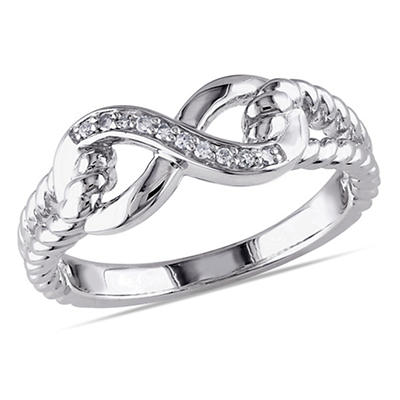 Infinity Link Ring in Sterling Silver with Diamond Accents, Size 5