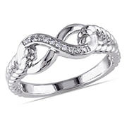 Infinity Link Ring in Sterling Silver with Diamond Accents, Size 8