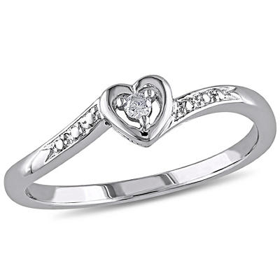 Heart Ring in Sterling Silver with Diamond Accent, Size 6