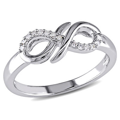 Infinity Ring in Sterling Silver with Diamond Accents, Size 7