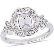 Created White Sapphire and 1/6 ct. t.w. Diamond Ring in Sterling Silver, Size 5