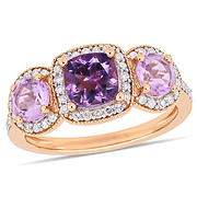 Amethyst, Rose de France and 1/3 ct. t.w. Diamond Engagement Ring in Rose Plated Sterling Silver, Size 5