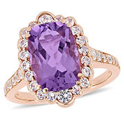 4.89 ct. t.w. Amethyst and White Topaz Halo Cocktail Ring in Pink Sterling Silver, Size 7