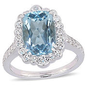 5.89 ct. t.w. Blue and White Topaz Cocktail Ring in Sterling Silver, Size 7