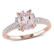 Morganite and Diamond Accent Ring in Rose Plated Sterling Silver, Size 5