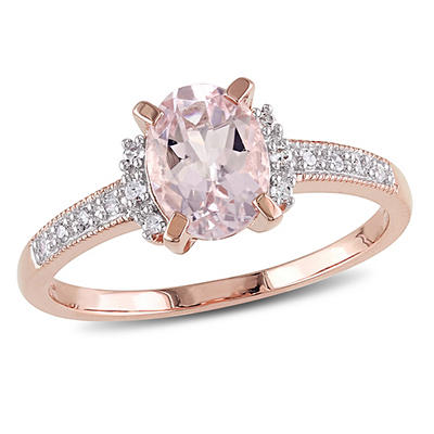 Morganite and Diamond Accent Ring in Rose Plated Sterling Silver, Size
