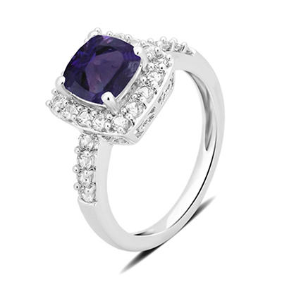 1.50 ct. t.w. Amethyst and Created White Sapphire Ring in Sterling Sil