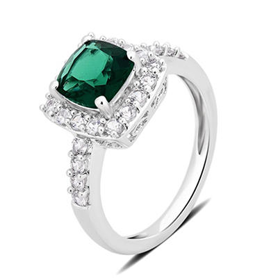 1.50 ct. t.w. Emerald and Created White Sapphire Ring in Sterling Silv