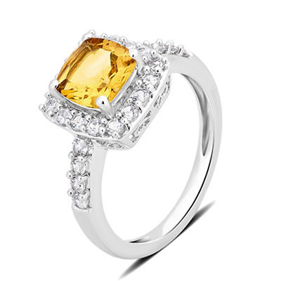 1.50 ct. t.w. Citrine and Created White Sapphire Ring in Sterling Silver